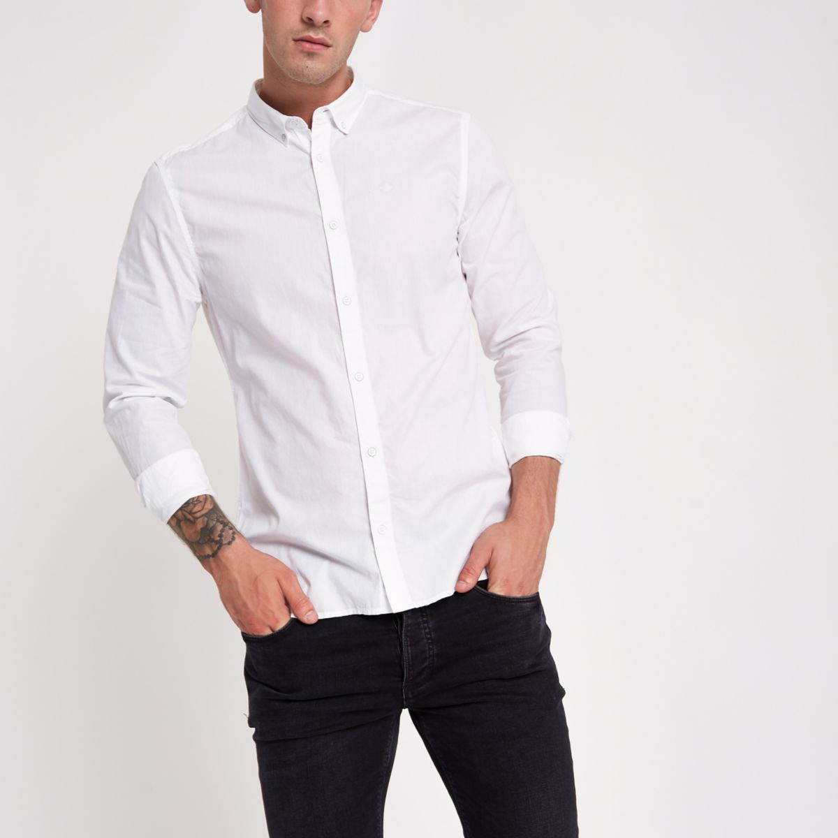 White poplin slim fit rolled sleeve shirt