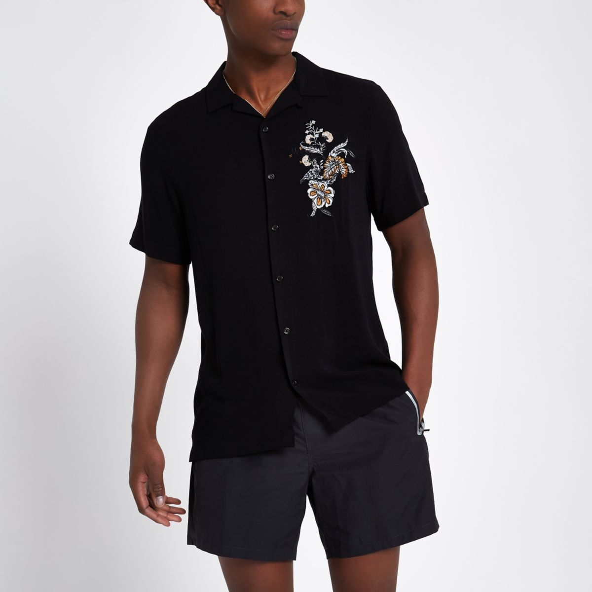 Black Floral Embroidered Casual Shirt by River Island