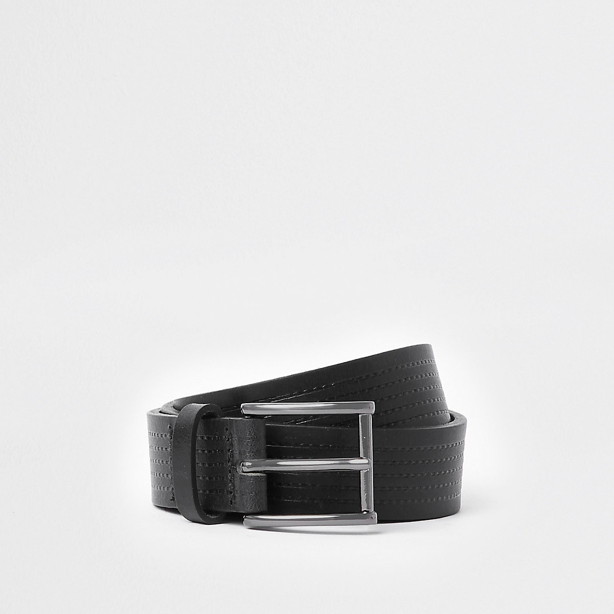 Black stitch leather buckle belt
