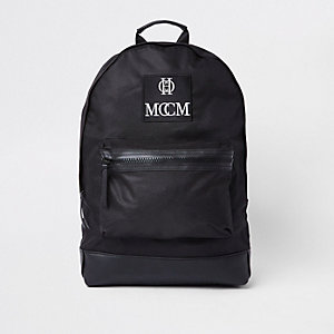 Black embroidered backpack
