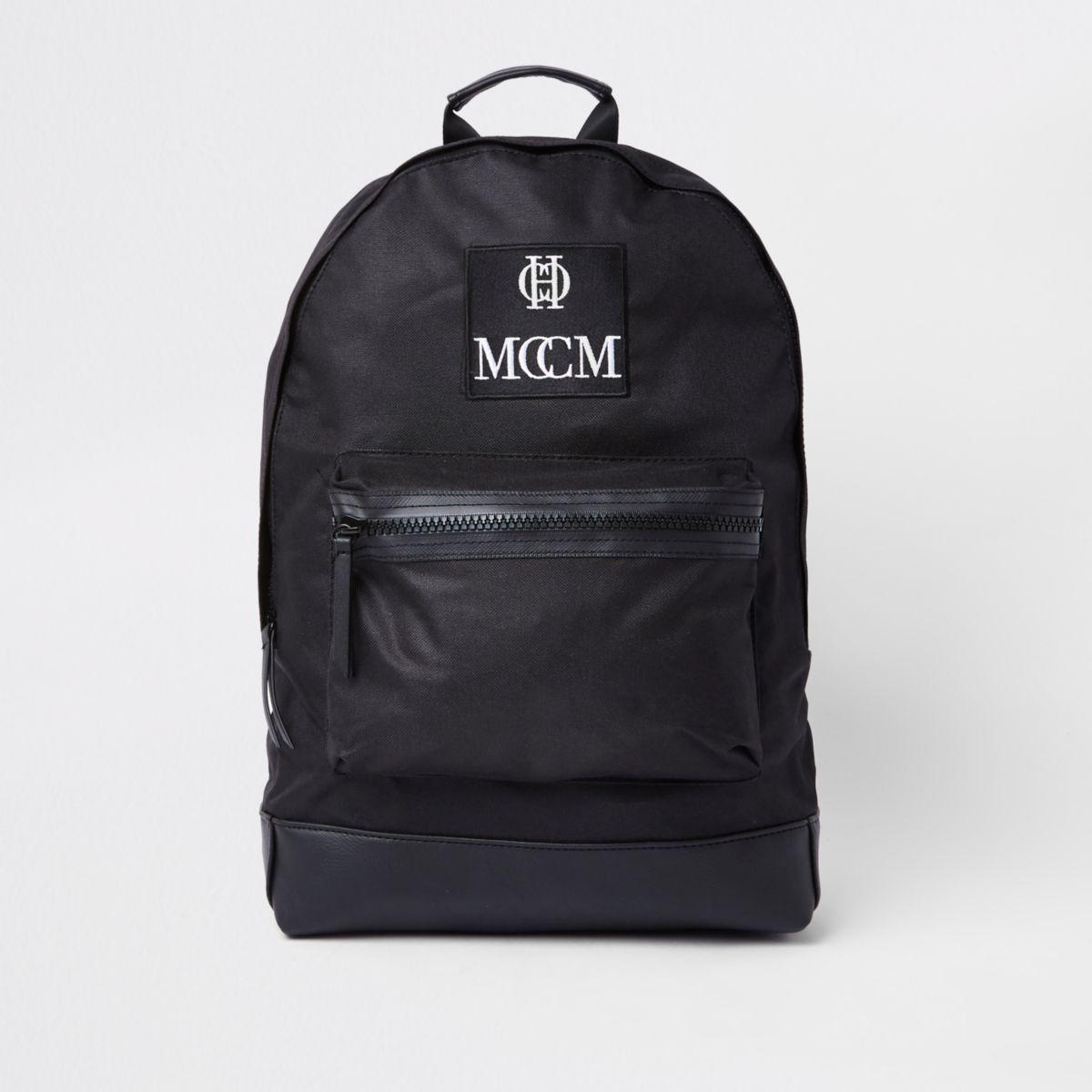 Black embroidered backpack