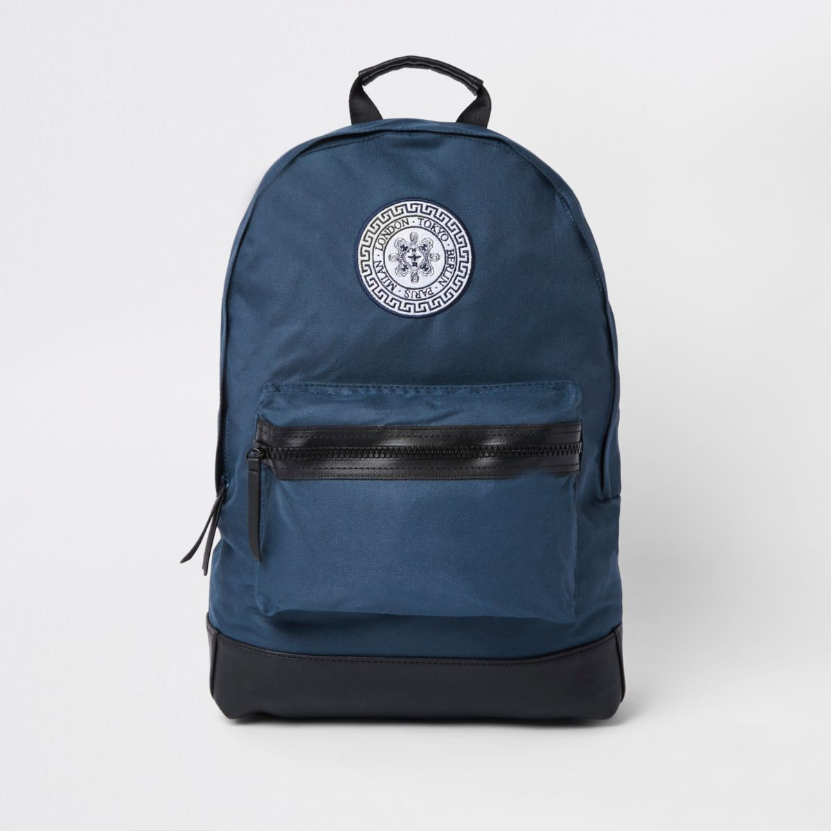 Navy London embroidery backpack
