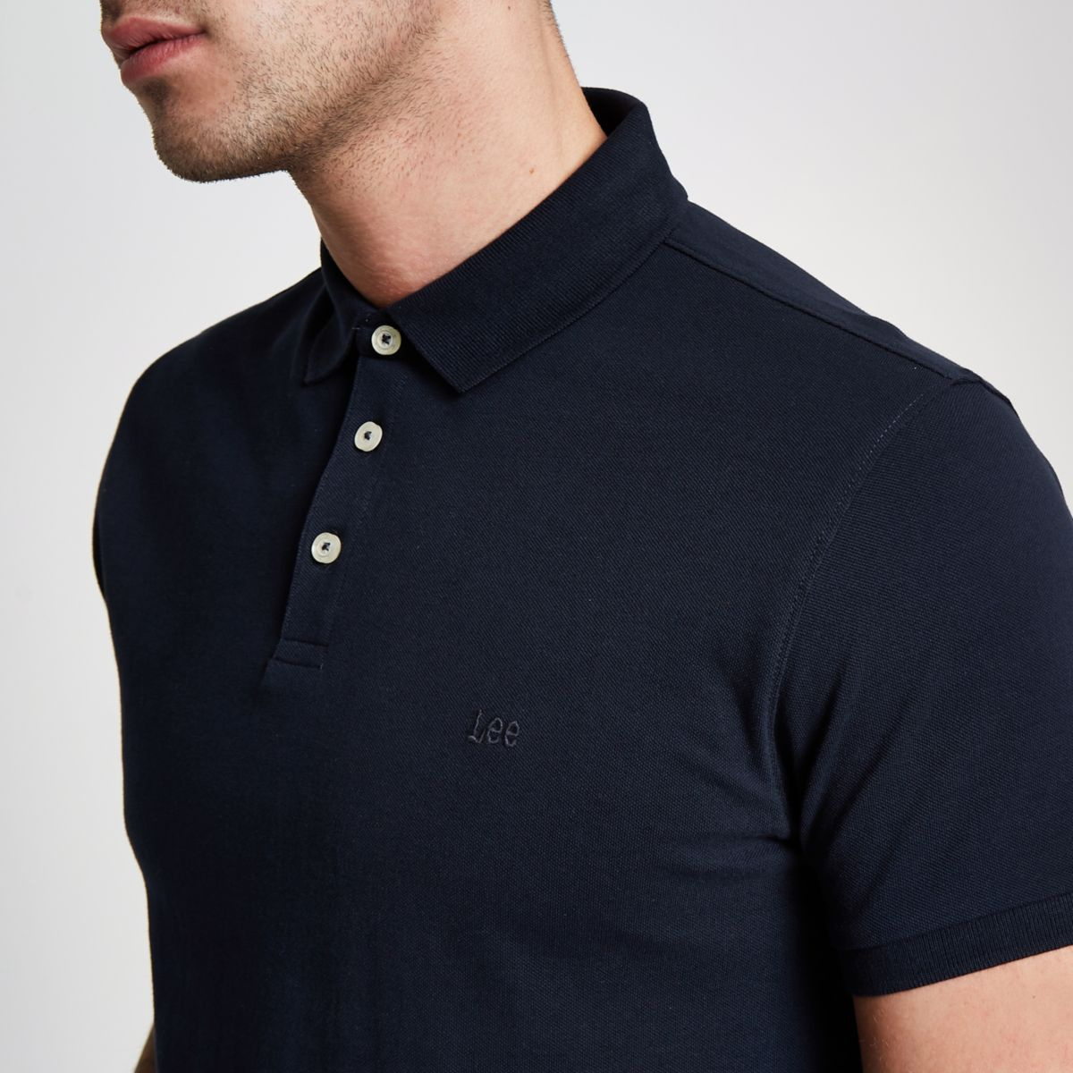 Navy Lee pique short sleeve polo shirt