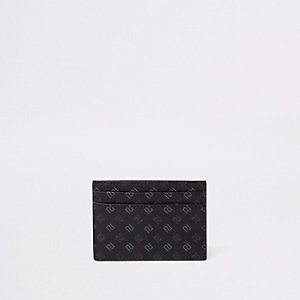 Black RI monogram card holder