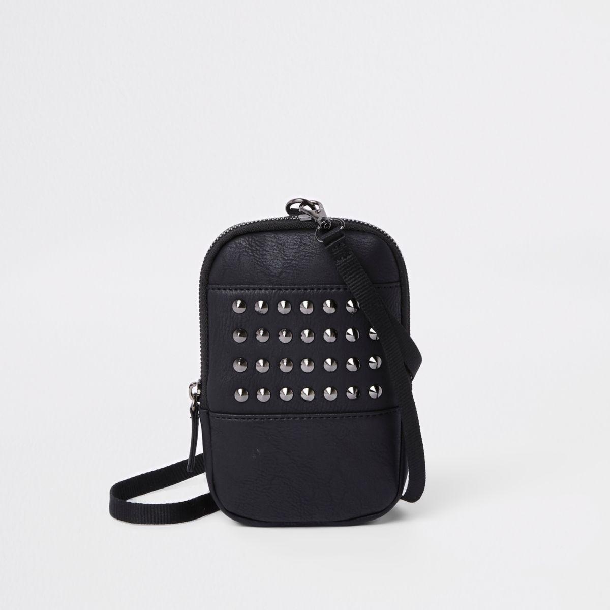 Black stud wallet pouch