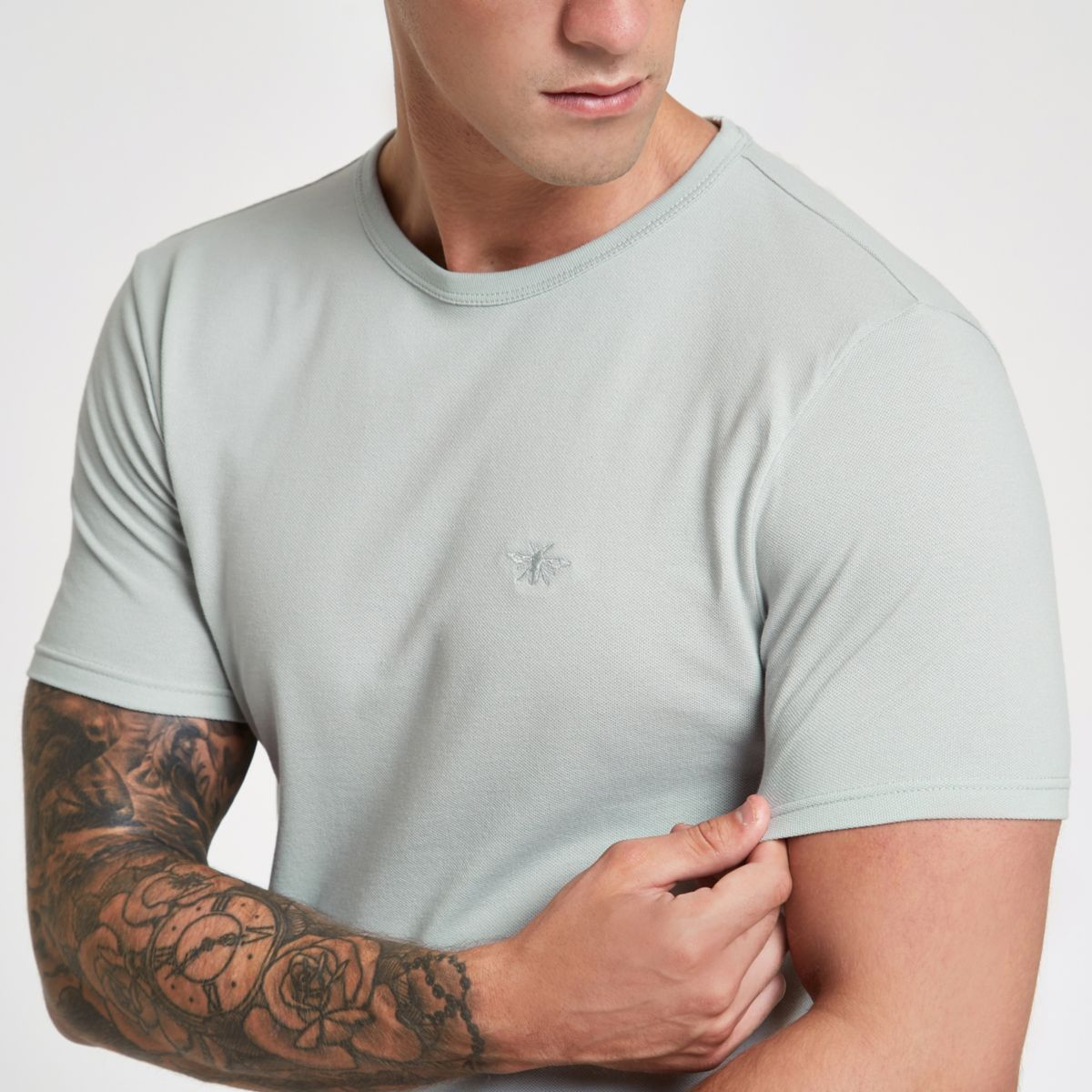 Grey pique wasp embroidered crew neck T-shirt