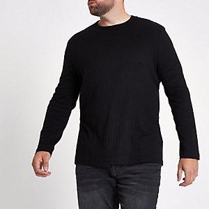 Big & Tall – Schwarzes, geripptes T-Shirt mit Rundhalsausschnitt