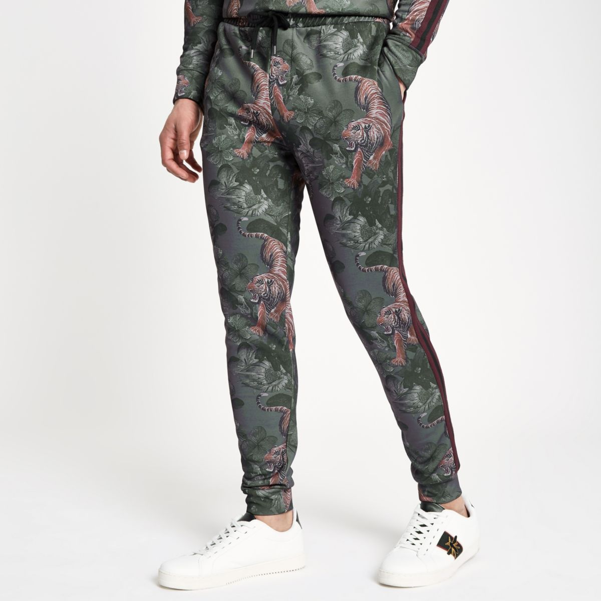 Green Slim Fit Tiger Print Joggers by River Island