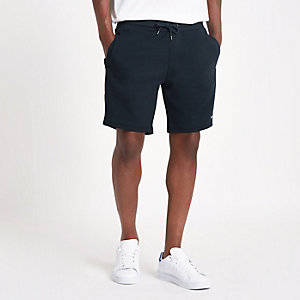 Navy tape side slim fit shorts