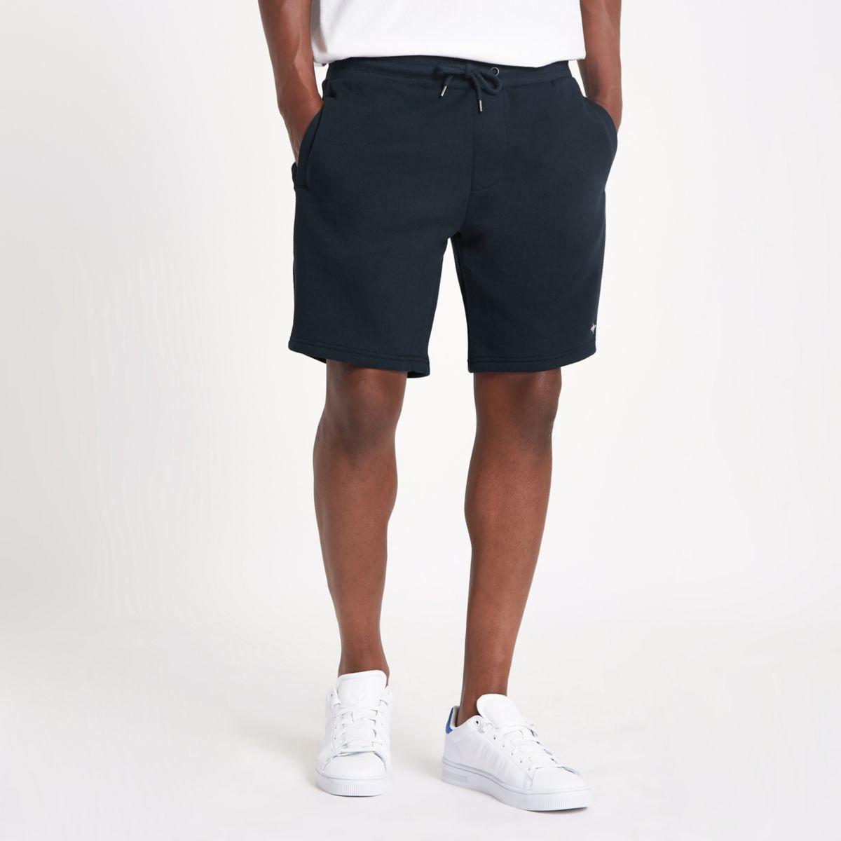 Navy tape side slim fit shorts