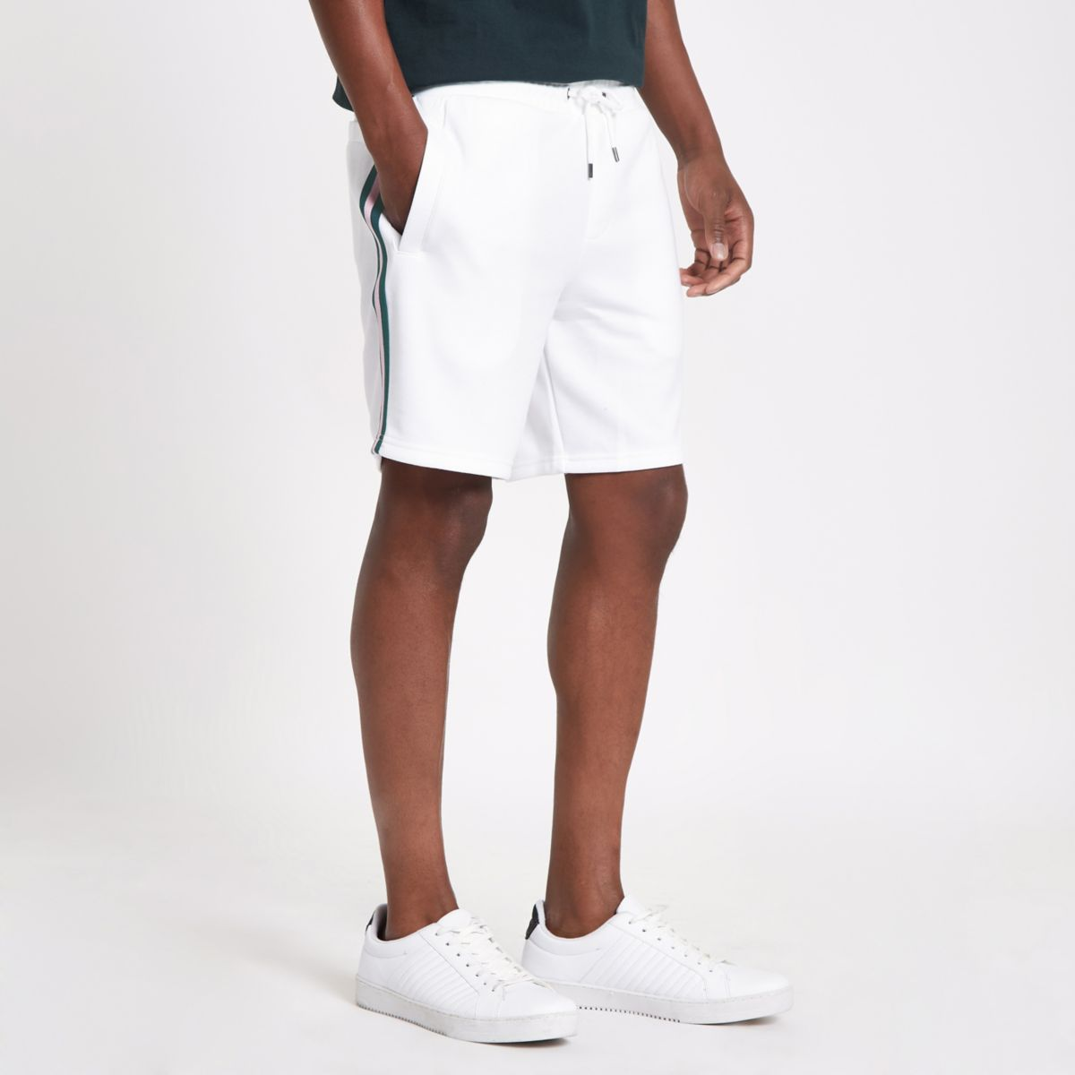 White tape side slim fit shorts