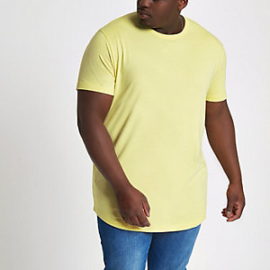 Big and Tall yellow curved hem T-shirt