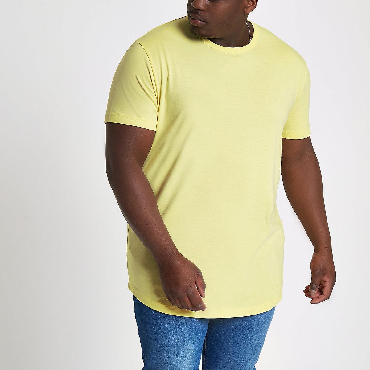 Big & Tall – Gelbes T-Shirt mit abgerundetem Saum