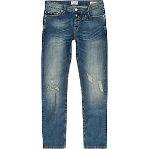 Only & Sons - Blauwe slim-fit ripped jeans