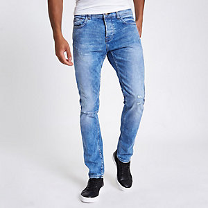 Only & Sons – Blaue Loose Fit Jeans im Used Look