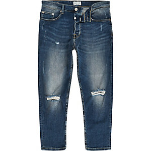 Only & Sons - Blauwe ripped cropped anti-fit jeans