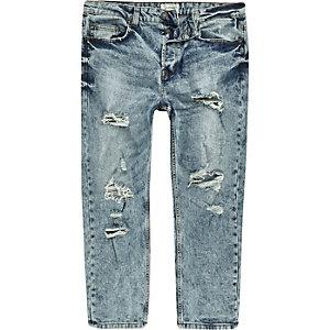 Only & Sons – Blaue, kurze Jeans mit Rissen