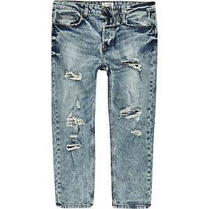 Only & Sons - Blauwe cropped jeans met scheuren