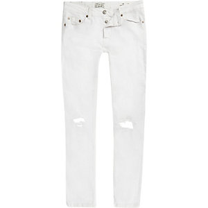 Only & Sons – Weiße Slim Fit Jeans im Used-Look