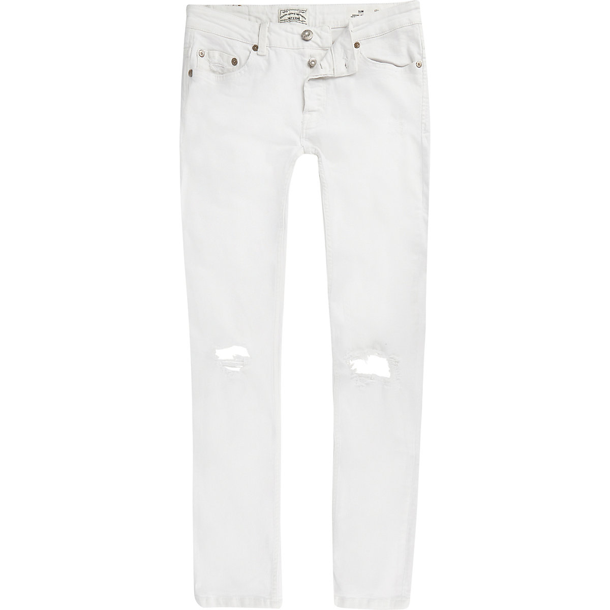 Only & Sons white ripped slim fit jeans