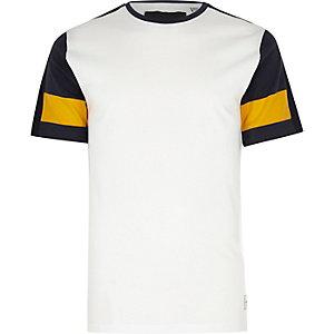 Only & Sons – Weißes T-Shirt mit Raglanärmeln