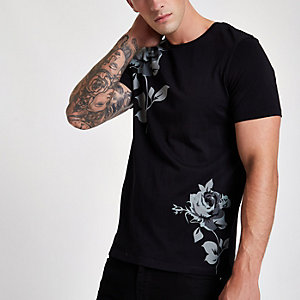 Jack & Jones Premium - T-shirt noir à imprimé rose