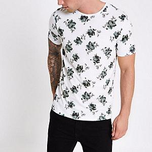 White Jack & Jones rose print T-shirt