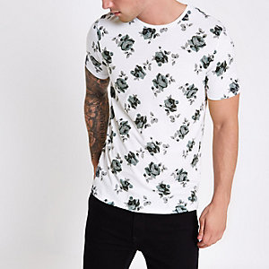 White Jack & Jones rose print T-shirt