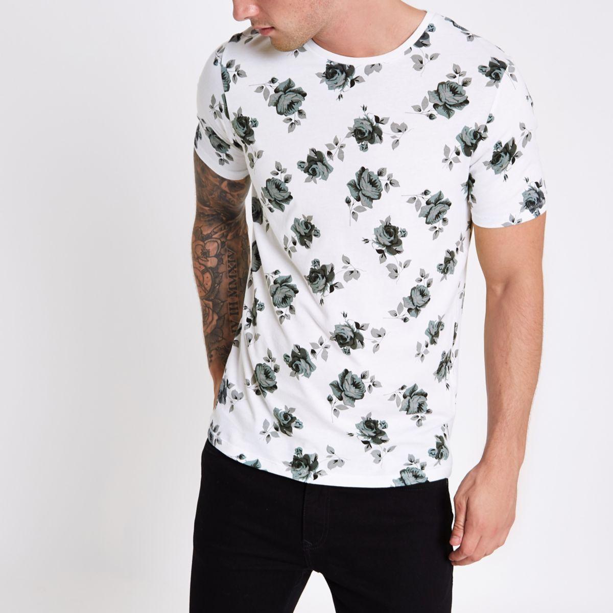 Jack & Jones white rose print T-shirt