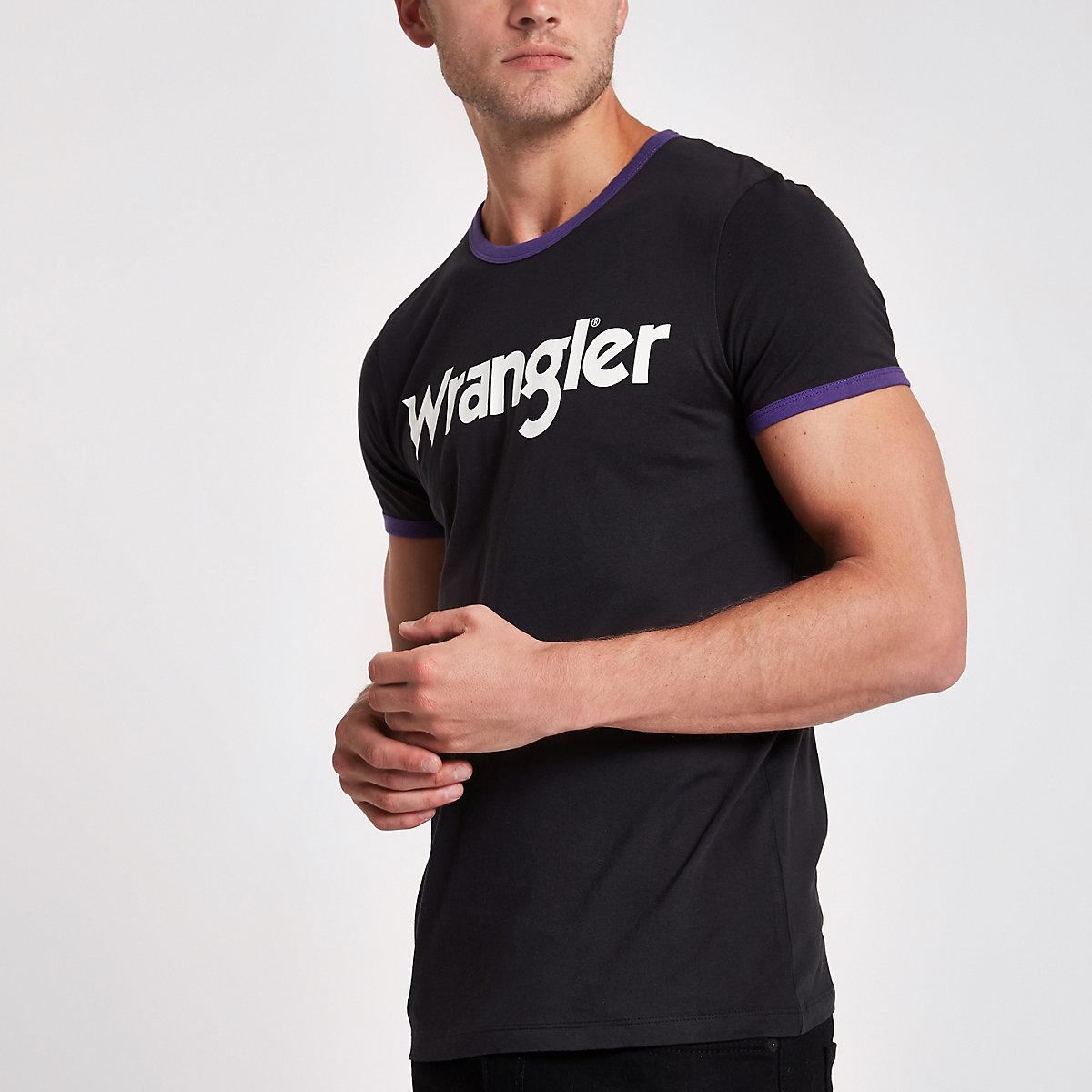 Wrangler - Zwart T-shirt met print