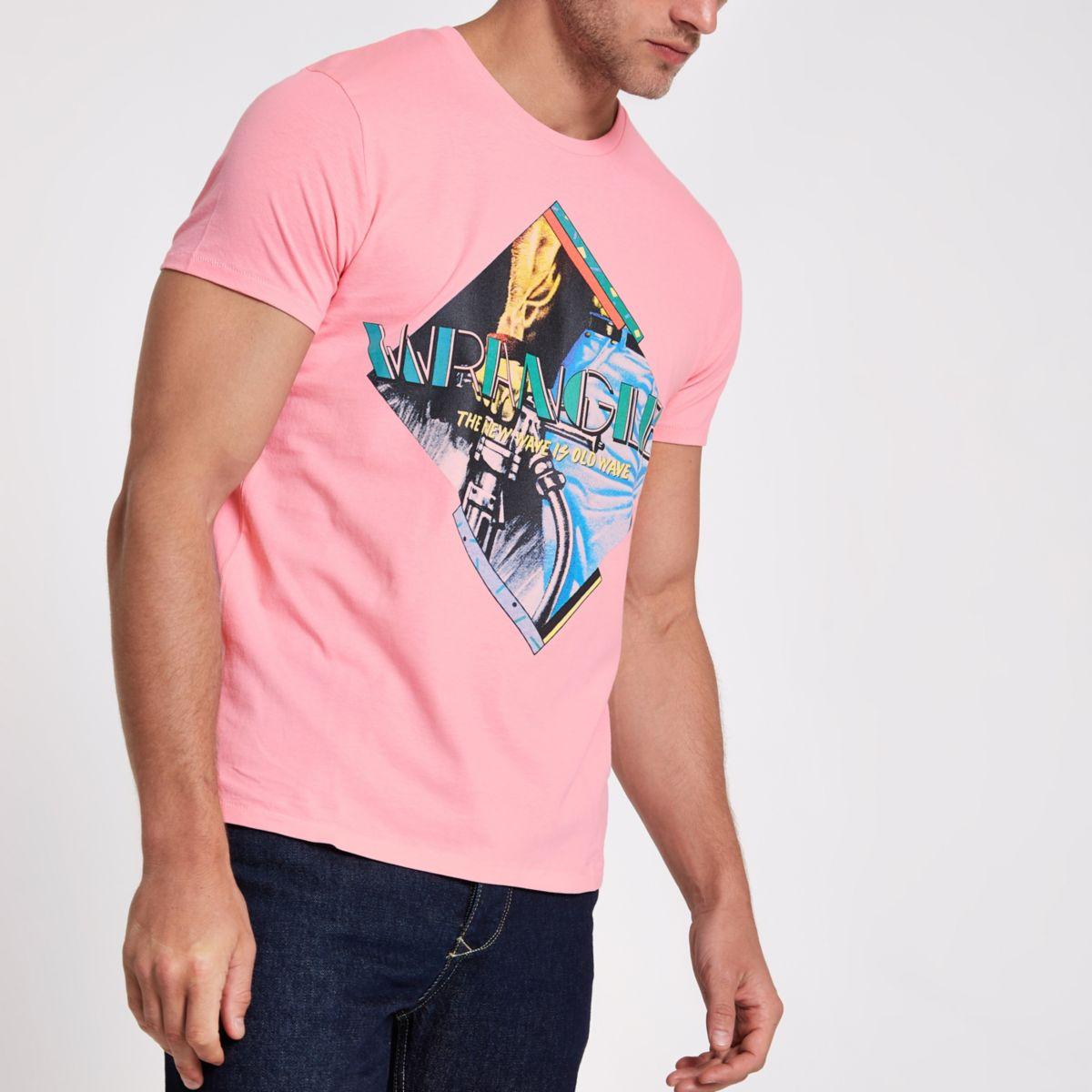 Pink Wrangler graphics T-shirt