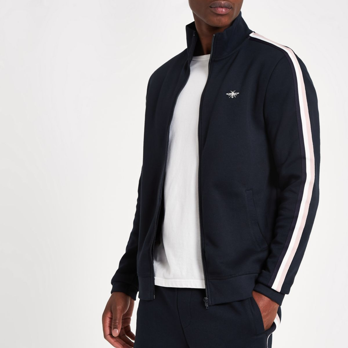 Navy tape funnel neck slim fit track jacket