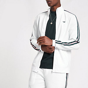 White  tape funnel neck slim fit track jacket