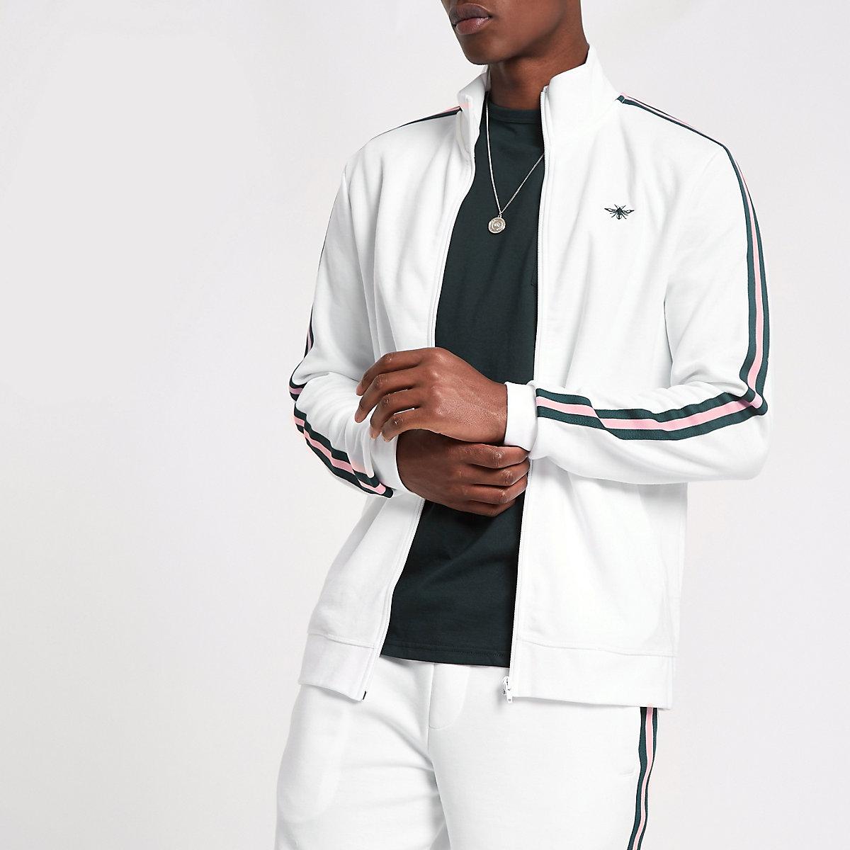 White  tape funnel neck slim fit track jacket