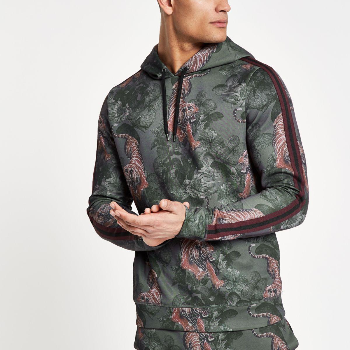 Green slim fit tape tiger print hoodie