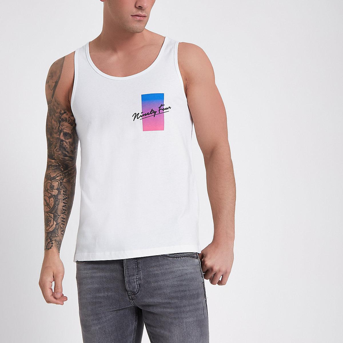 White 'ninety four' print vest