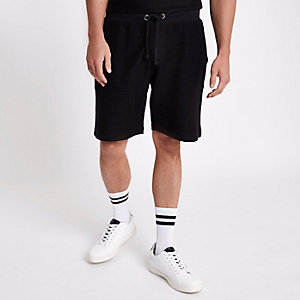 Black textured jersey short