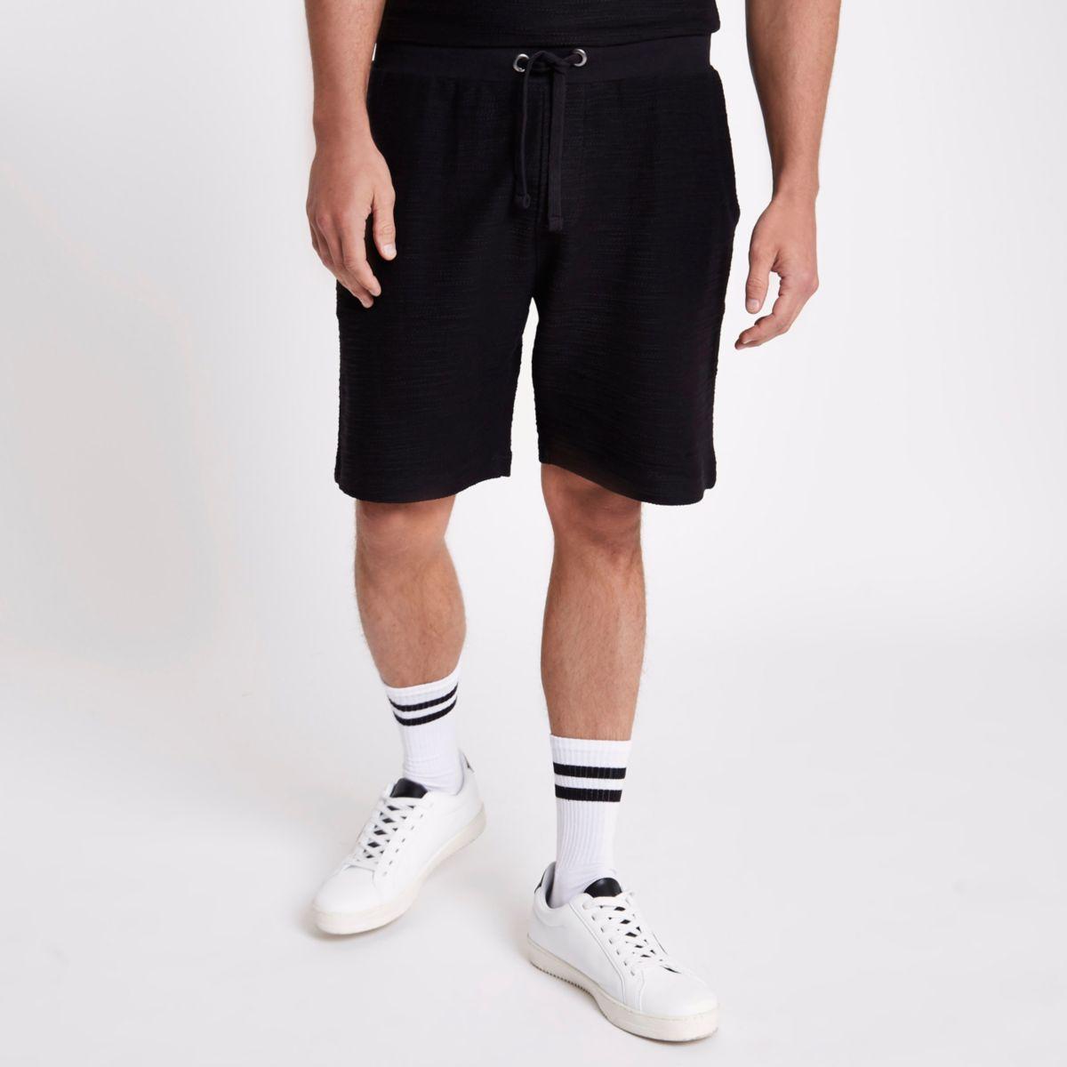 Black textured jersey short