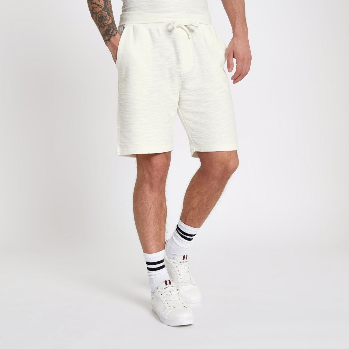 Ecru textured jersey short
