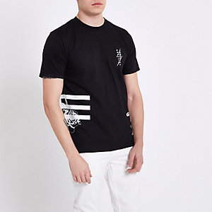 Zwart slim-fit T-shirt met bloemenprint en ronde hals
