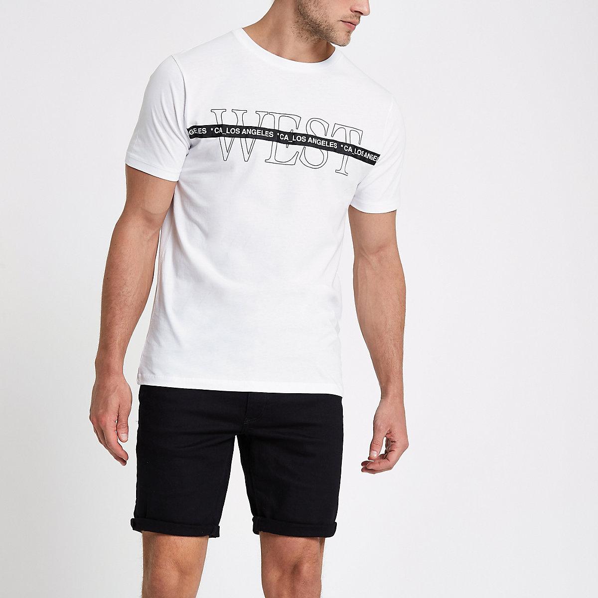 White 'West' short sleeve slim fit T-shirt