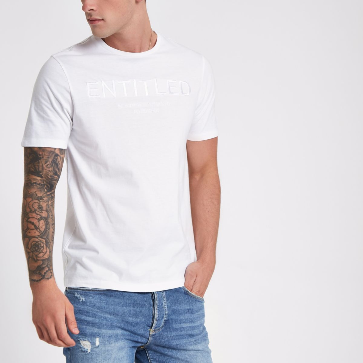 White 'entitled' embossed slim fit T-shirt