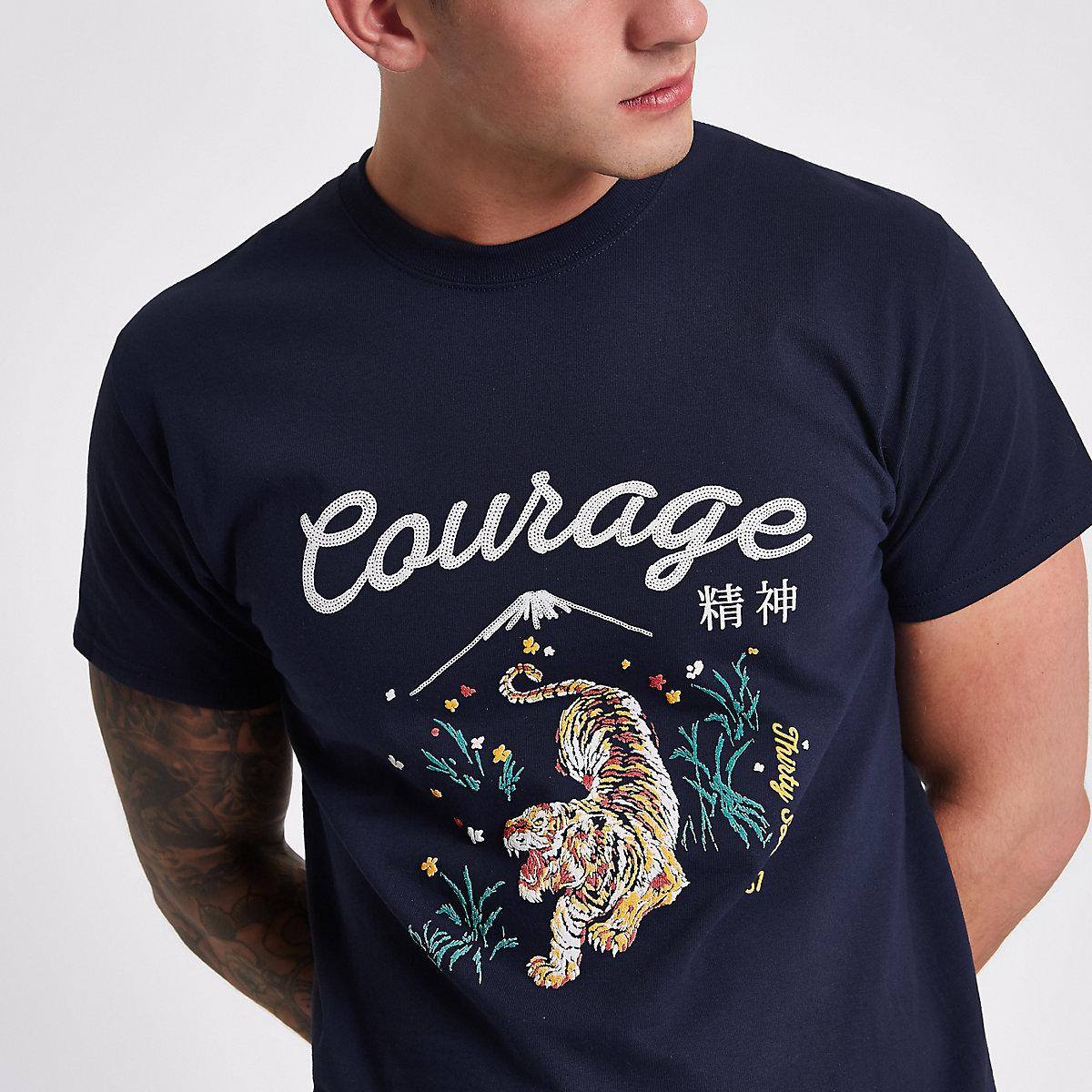 Navy 'courage' print slim fit T-shirt