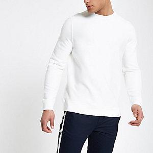 Wit sweatshirt met ronde hals van keperstof