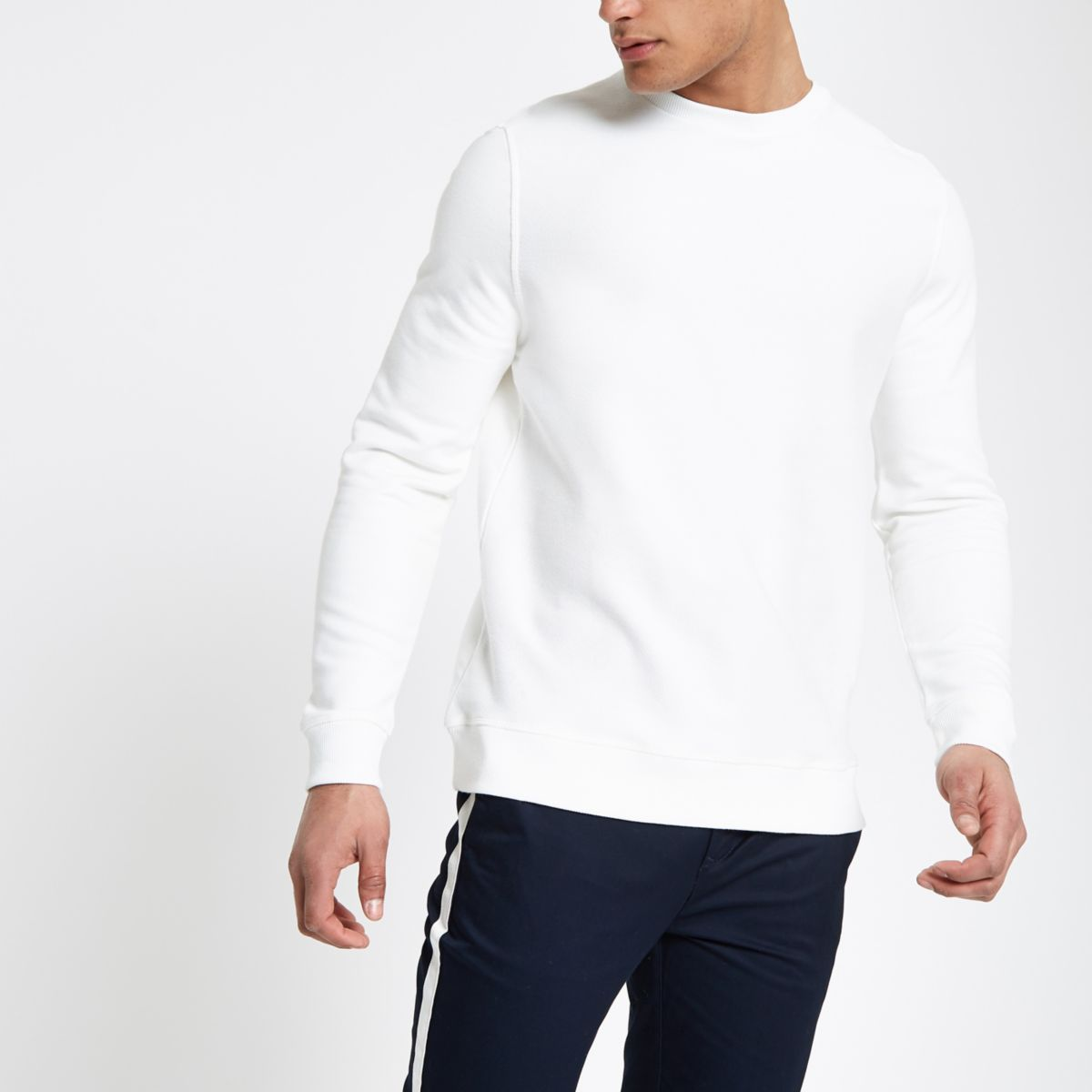 White twill crew neck sweatshirt