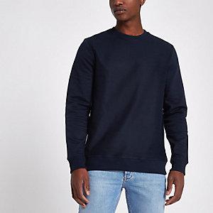 Marineblauw sweatshirt met ronde hals van keperstof