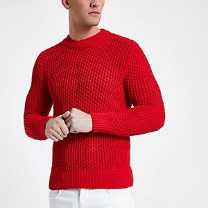 Roter Slim Fit Pullover mit langen Ärmeln