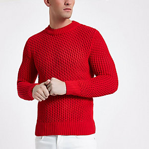 Red slim fit long sleeve knitted sweater