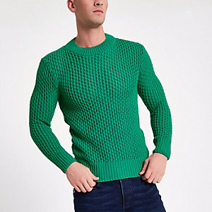 Groene slim-fit gebreide pullover met lange mouwen