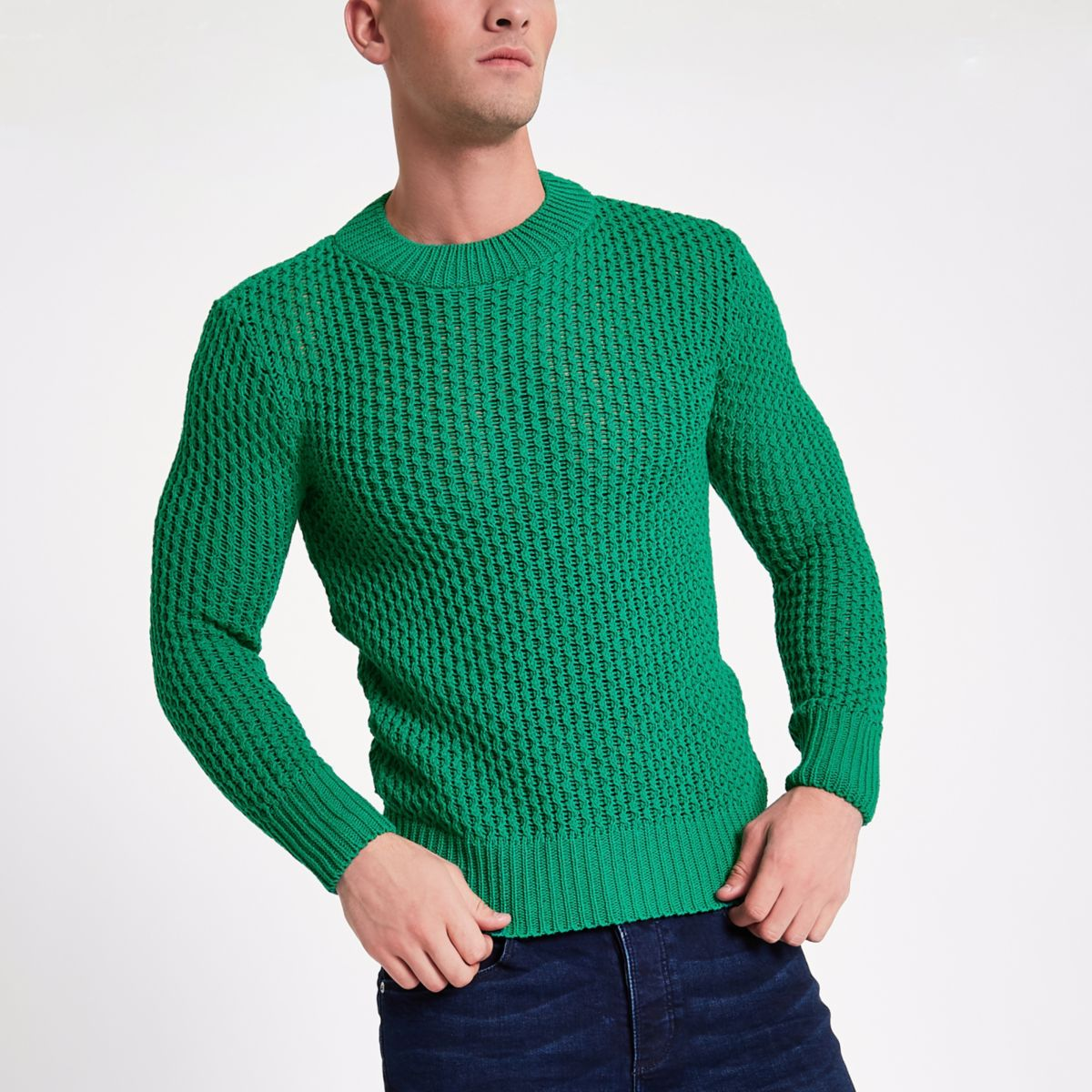 Green slim fit long sleeve knitted sweater